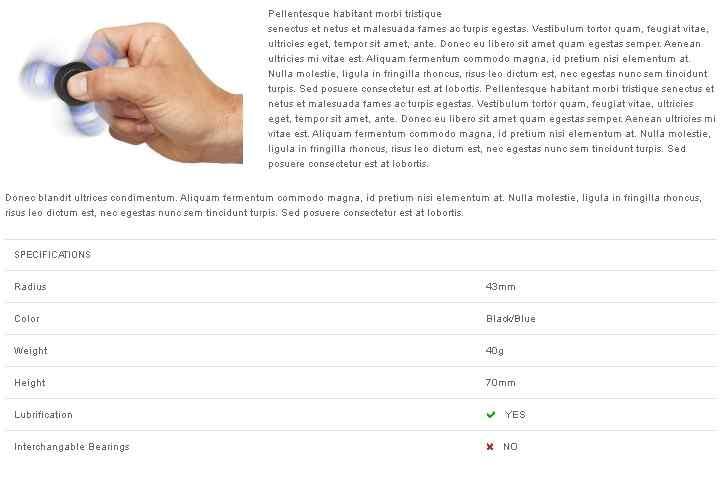 ficha de características del producto tienda online kubysoft