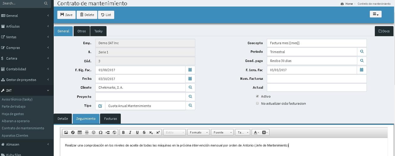 gestión de contratos de mantenimiento ERP en la nube Kubysoft
